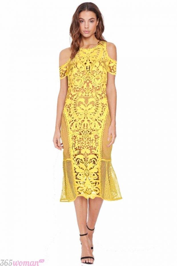 что одеть на день святого валентина 2021: желтое платье миди из кружева