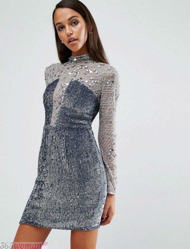 Что одеть на новогодний корпоратив 2021: серое блестящее платье мини