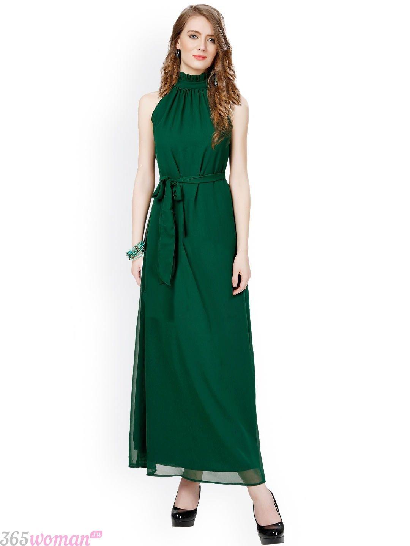Что одеть на новогодний корпоратив: зеленое длинное платье с поясом
