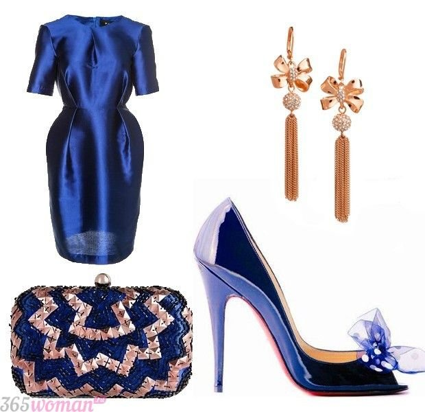 Что одеть на новогодний корпоратив: синее платье и аксессуары