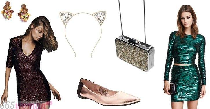 Что одеть на новогодний корпоратив: блестящие аксессуары к новогоднему платью