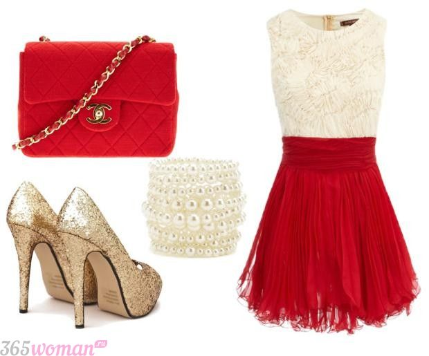 Что одеть на новогодний корпоратив: бело-красное платье и золотые туфли, красная сумка