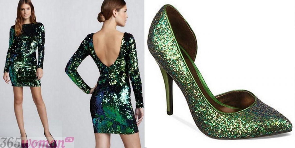Что одеть на новогодний корпоратив: блестящее зеленое платье и туфли в тон