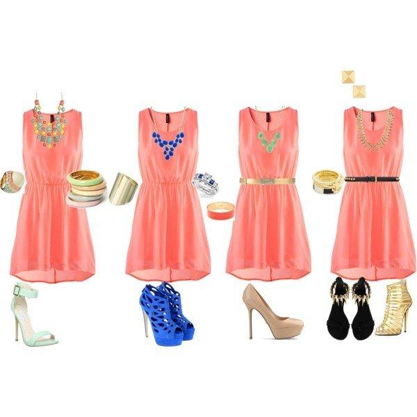 коралловое платье туфли и аксессуары с чем носить