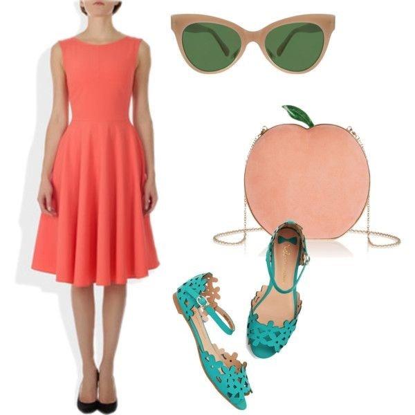 с чем носить коралловое платье с туфлями и аксессуарами