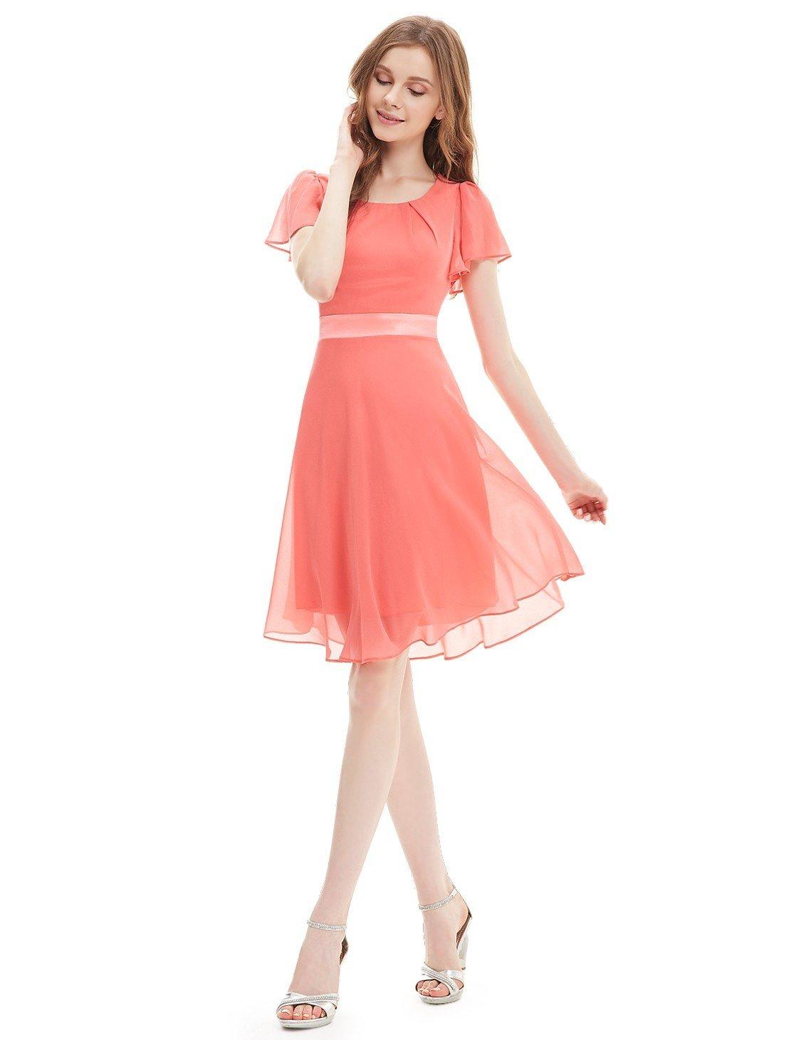 с чем носить легкое коралловое платье и босоножки на каблуке