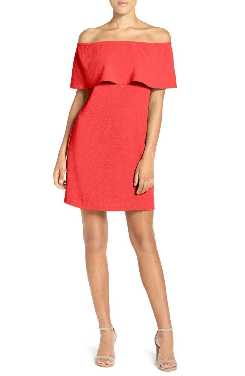 с чем носить короткое коралловое платье с воланом и босоножки