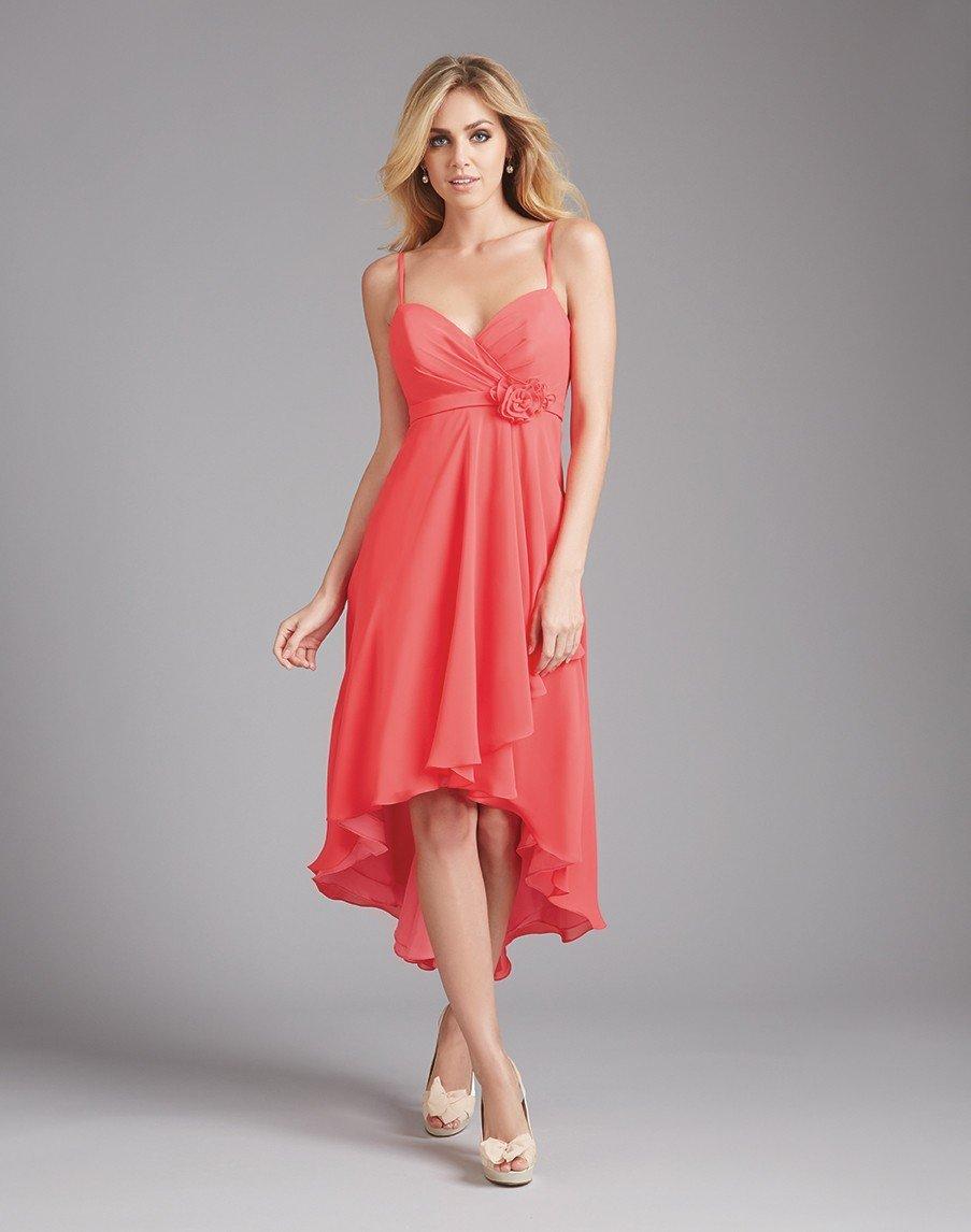 с чем носить коралловое платье-миди удлиненное сзади