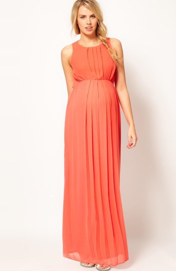 длинное прямое коралловое платье в пол с чем носить