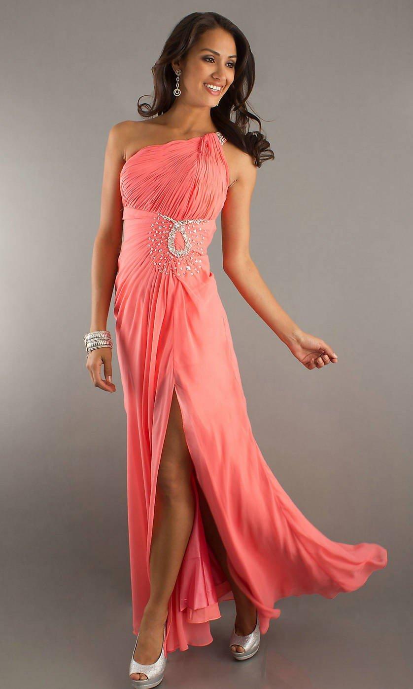 коралловое платье в пол с разрезом с чем носить