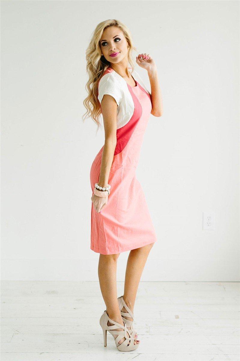 с чем носить коралловое платье-сарафан