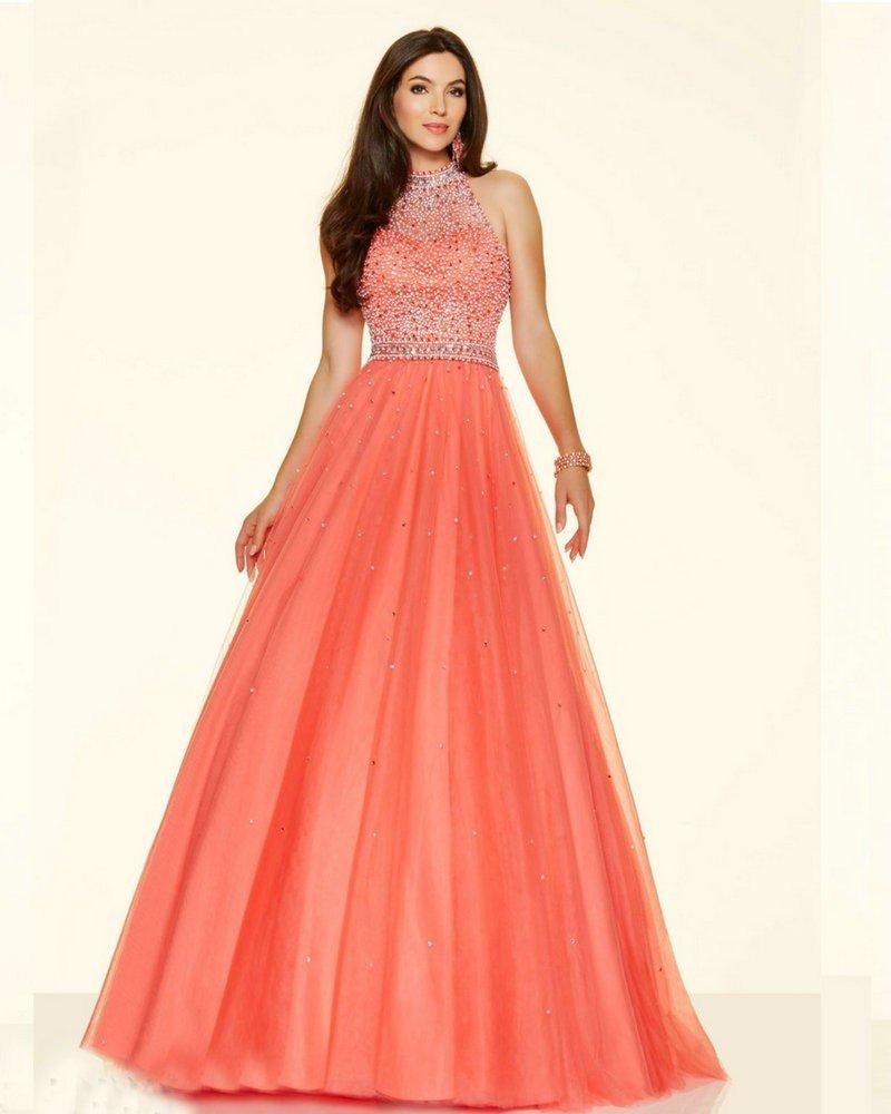 длинное коралловое платье с пышной юбкой с чем носить