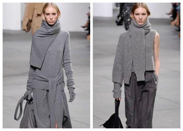 шарф свитер серый