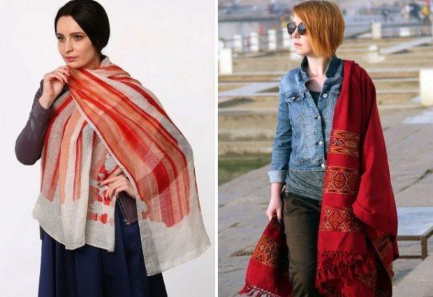 модные шарфы 2019 2020: палантин легкий белый в красную полоску теплый