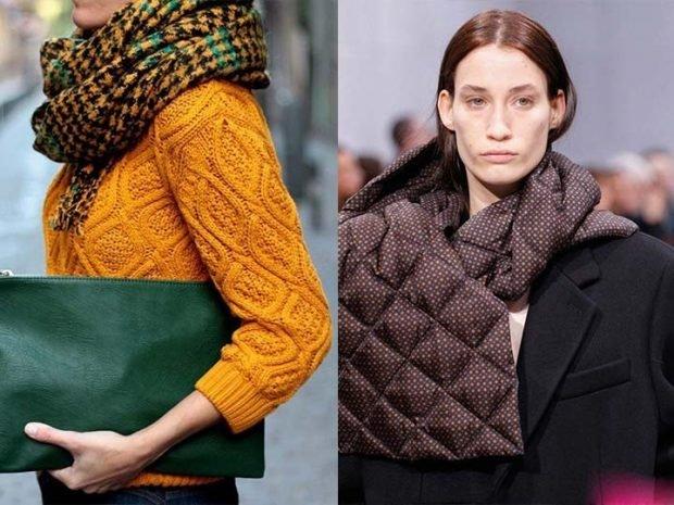 модные шарфы 2019 2020: хомут в клетку стеганый коричневый