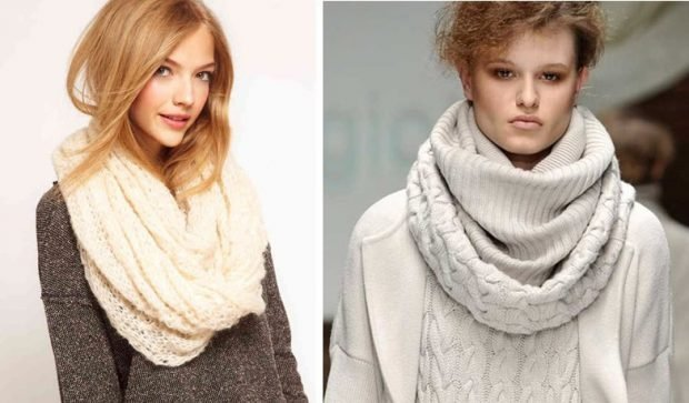 модные шарфы 2019 2020: хомут белый серый