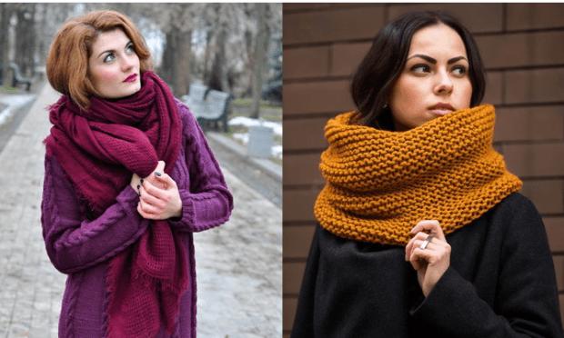 модные шарфы 2019 2020: малиновый объемный хомут желтый крупная вязка