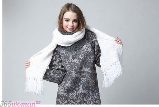 модные шарфы 2019 2020: белый с бахромой