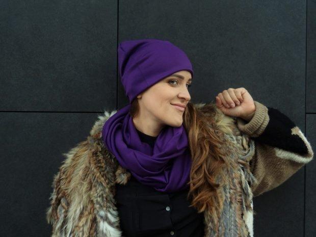 модные шарфы 2019 2020: яркий фиолетовый