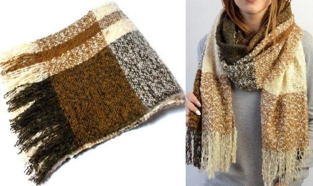шарф теплый с бахромой светлые тона