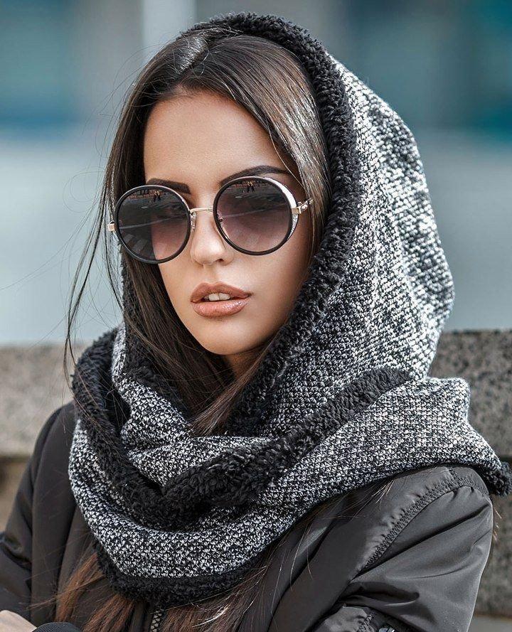 шарф серый с черным хомут