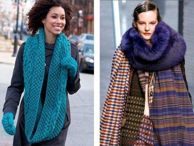 шарфы 2019 2020: хомут бирюзовый меховой хомут фиолетовый