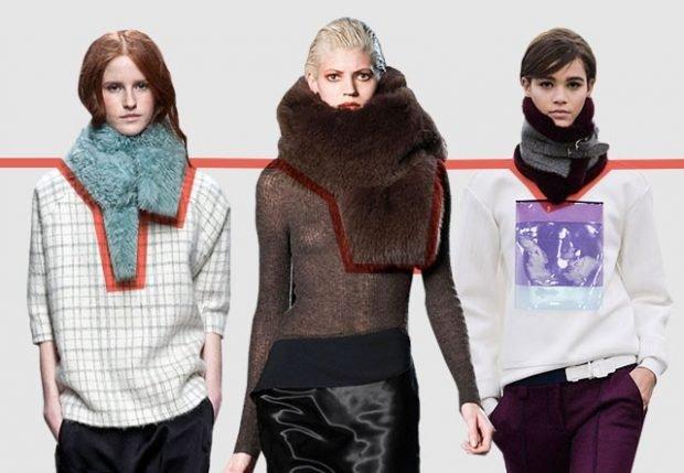 шарф 2019 2020: меховой серый коричневый черный стойка с застежкой
