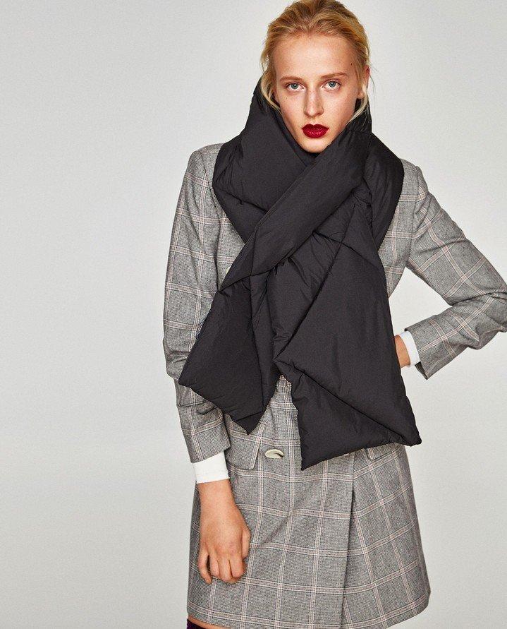 шарф черный стеганый