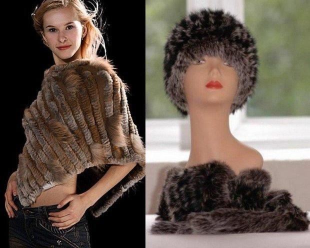 шарф 2019 2020: меховой палантин коричневый
