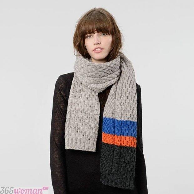 модный шарф 2019 2020: разноцветный вязаный
