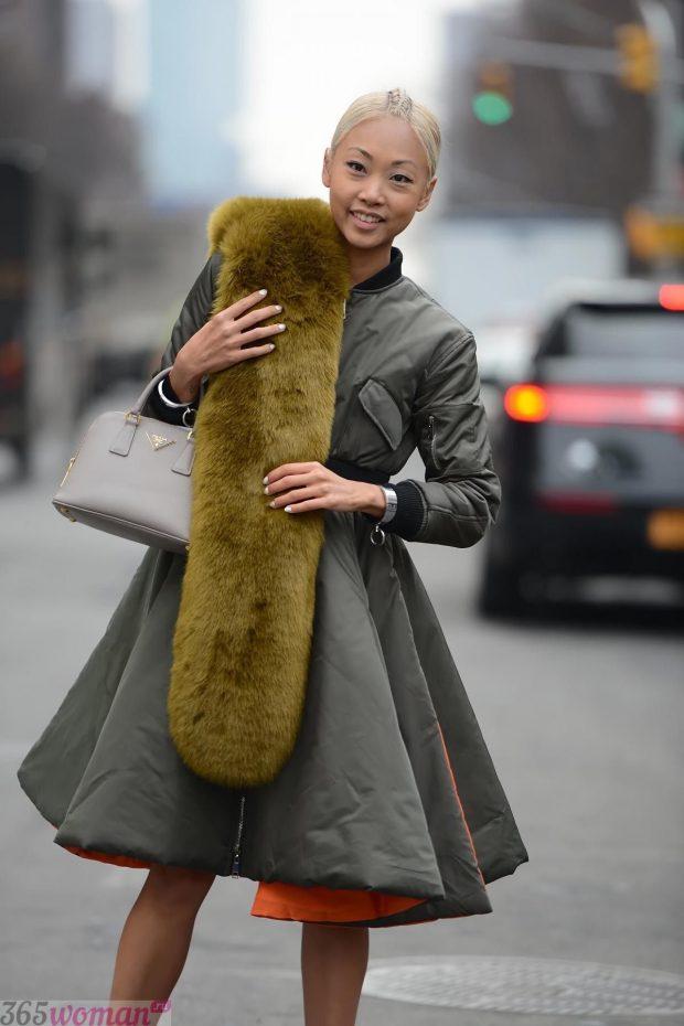 шарфы зима 2019 2020: меховой оливкового цвета