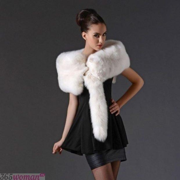 шарфы зима 2019 2020: белый меховой