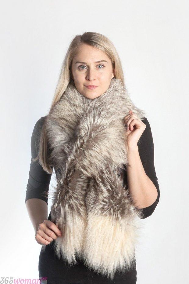 шарфы зима 2019 2020: светло-серый меховой