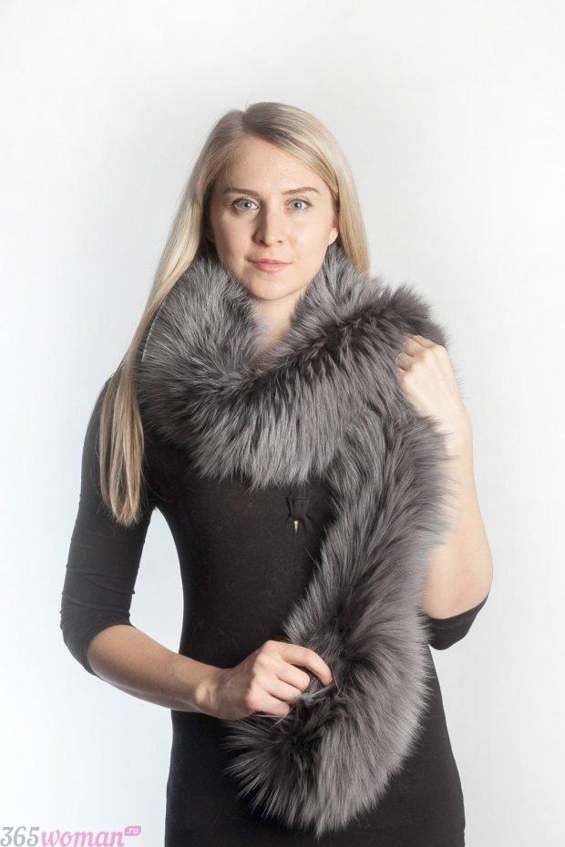 шарфы зима 2019 2020: серый меховой