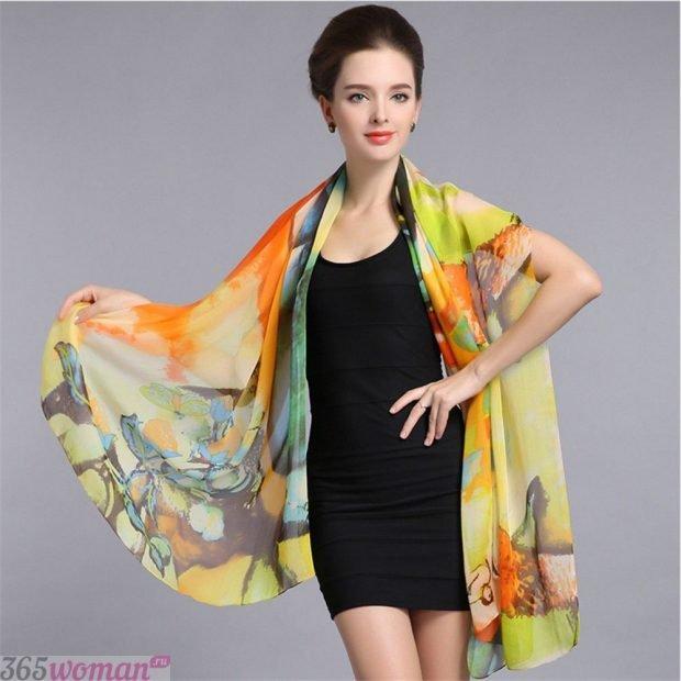 модный шарф 2019 2020: шелковый в желтой цветовой гамме