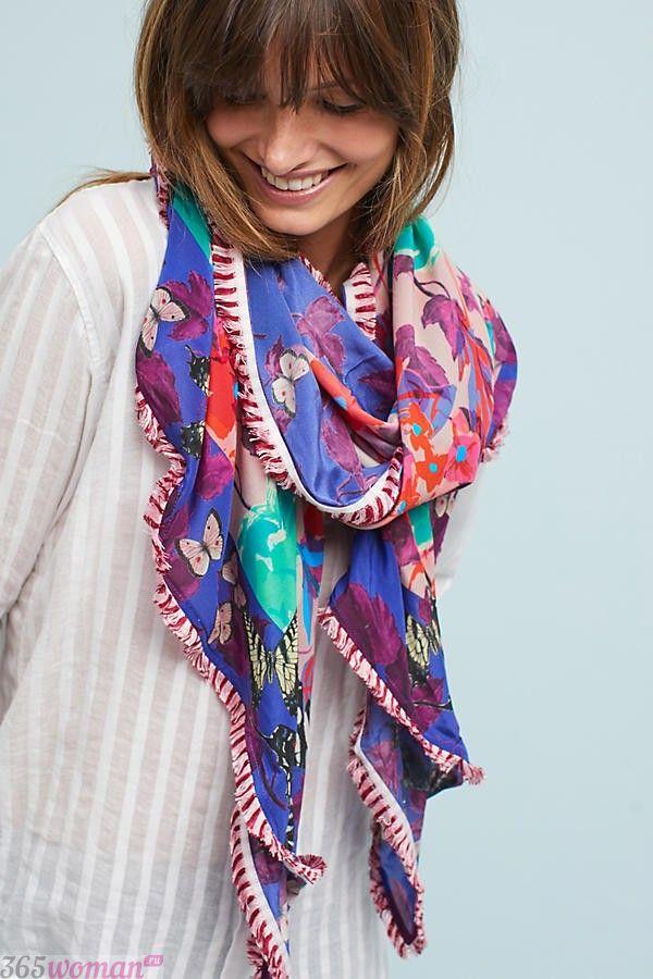 модный шарф 2019 2020: разноцветный шелковый