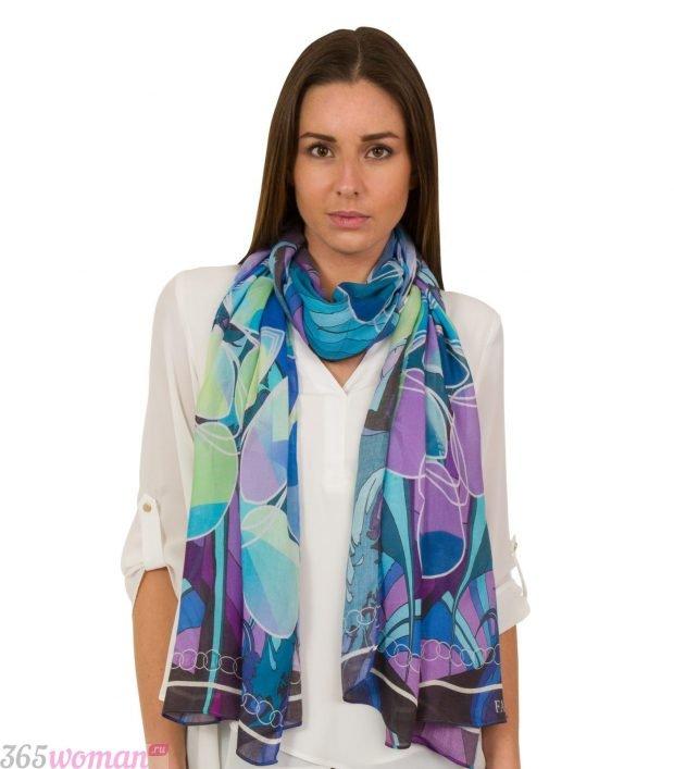 модный шарф 2019 2020: шелковый разноцветный