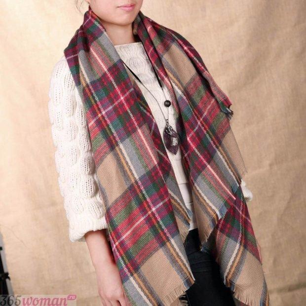 модный шарф 2019 2020: клетчатый оверсайз