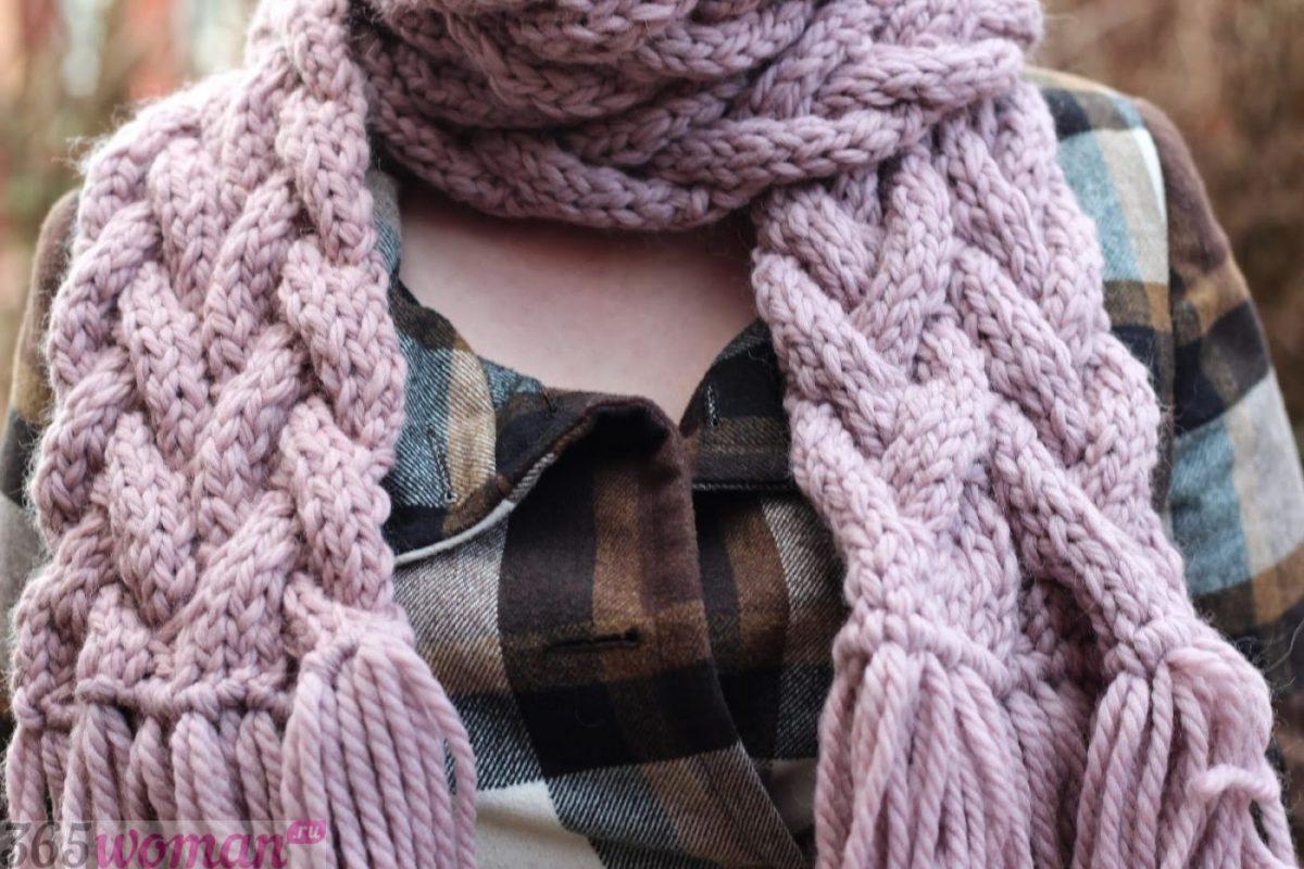 вязаный шарф оверсайз пастельного оттенка