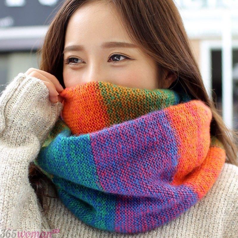 разноцветный шарф хомут