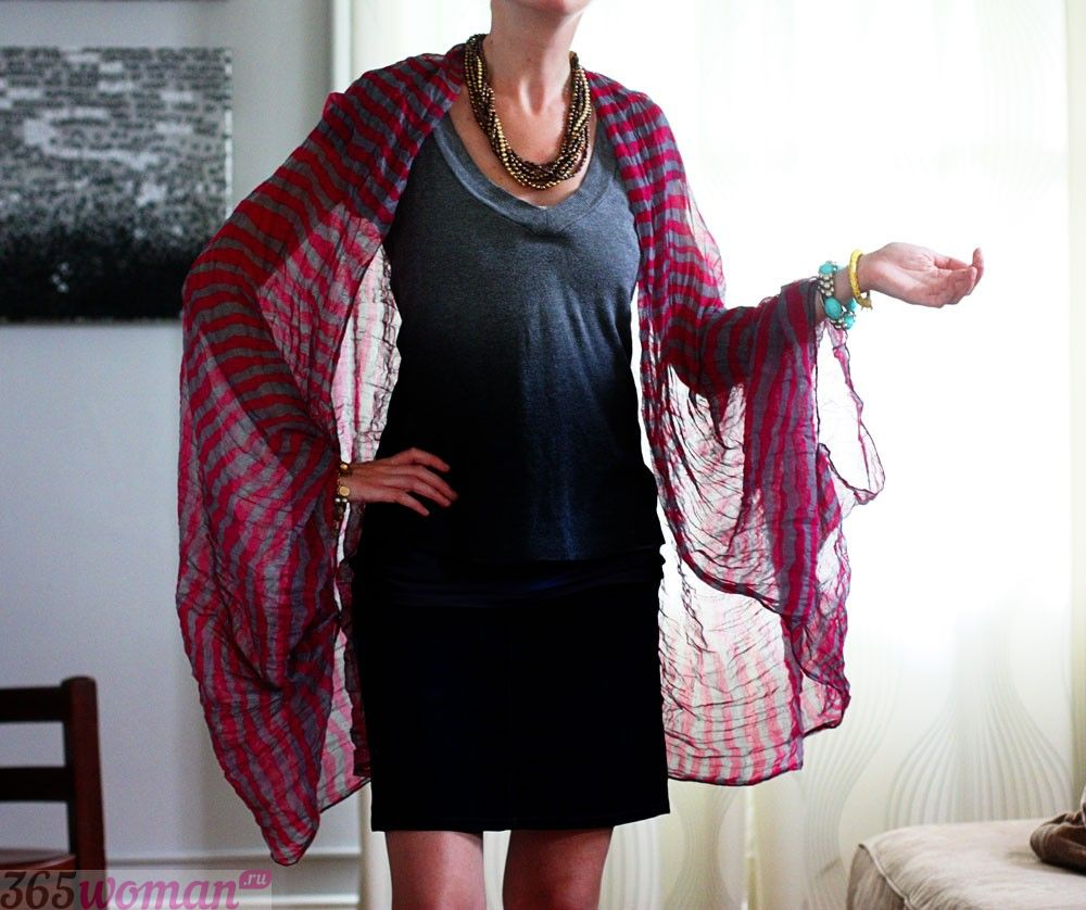 легкий шарф палантин цвета марсала