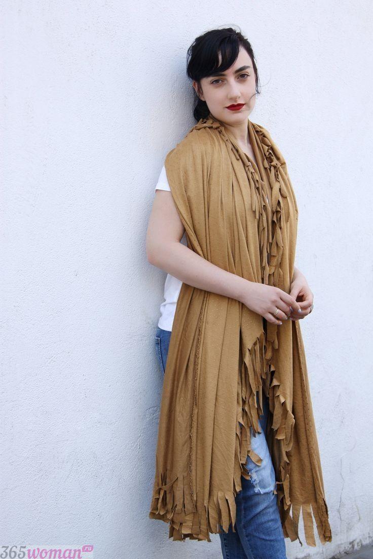 шарф палантин бежевого цвета