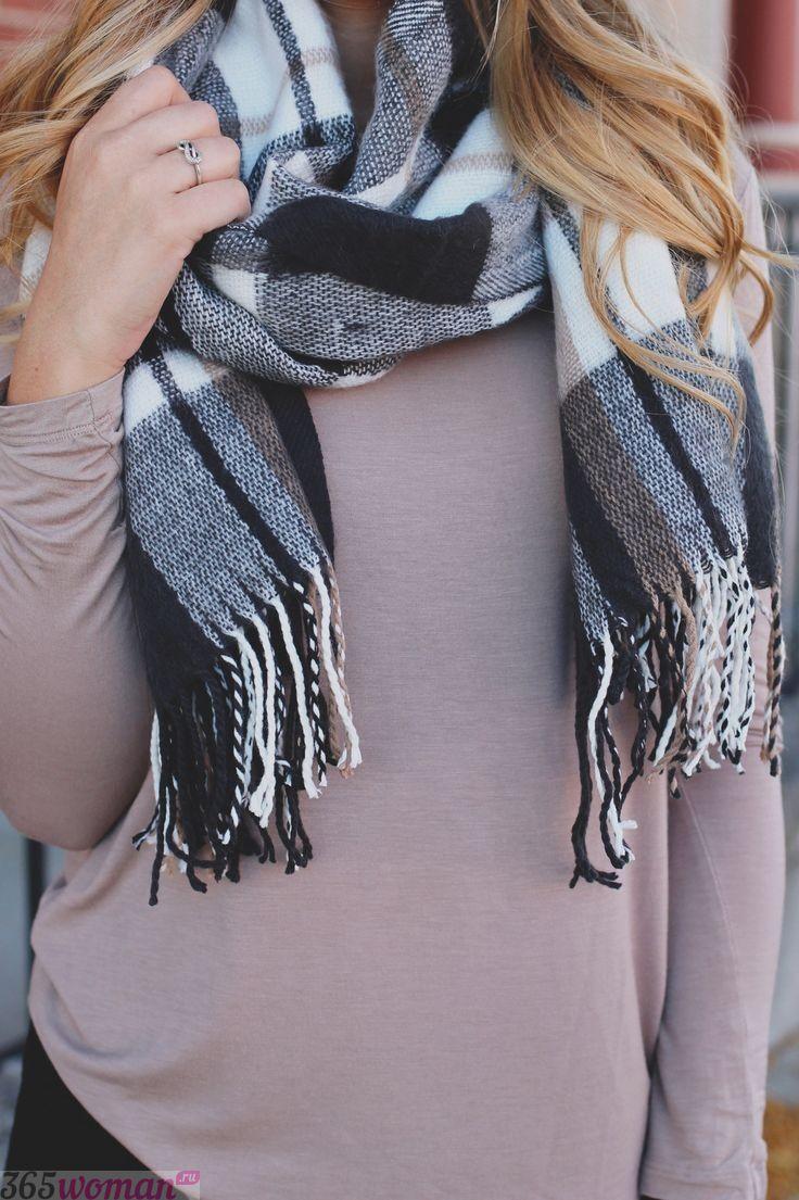 шарф с бахромой в клетку