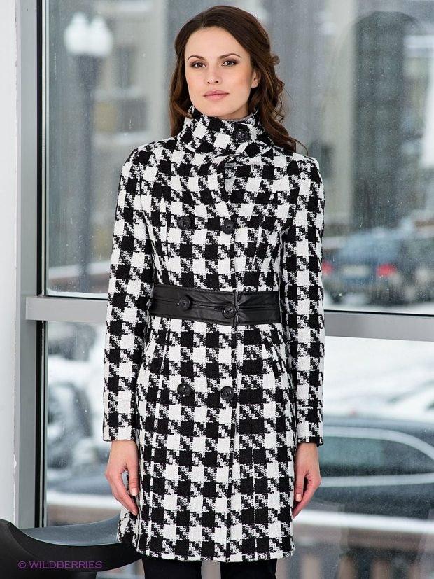 модные принты осень зима 2020 2021: пальто гусиная лапка