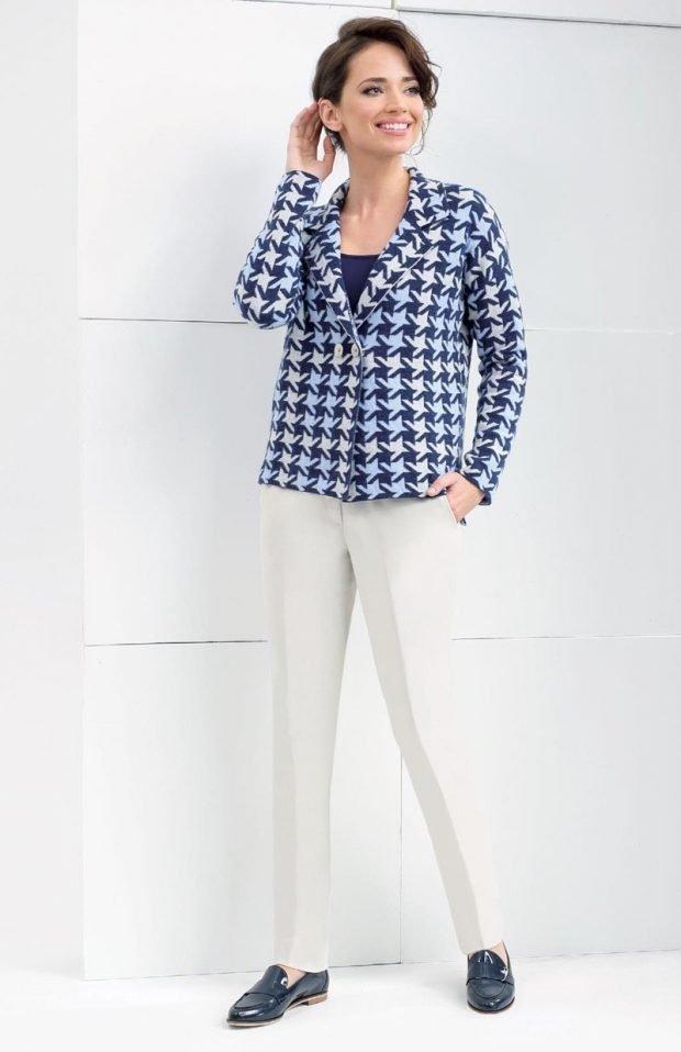 модные принты осень зима 2019 2020: короткий пиджак гусиная лапка