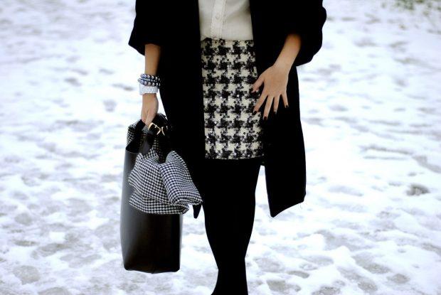 модные принты осень зима 2019 2020: прямая юбка гусиная лапка
