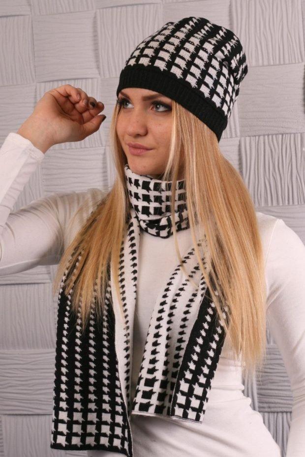 модные принты осень зима 2020 2021: шапка и шарф гусиная лапка