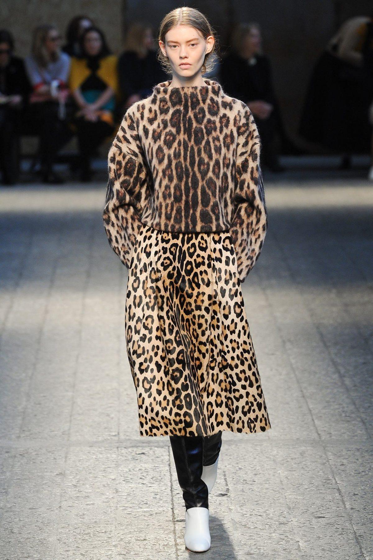 свитер и юбка леопардовый принт осень зима 2018 2019