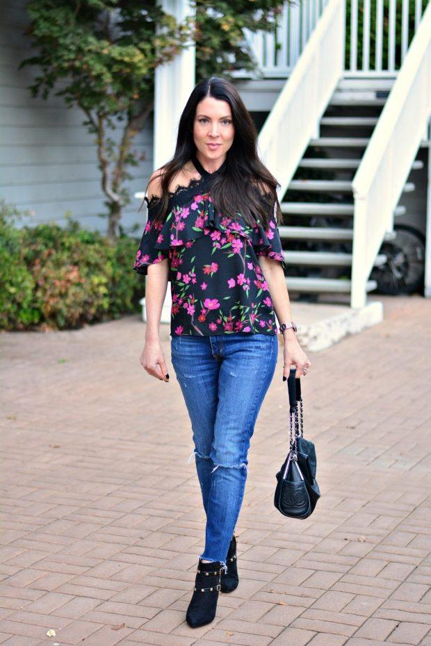 блуза цветочный джинсы
