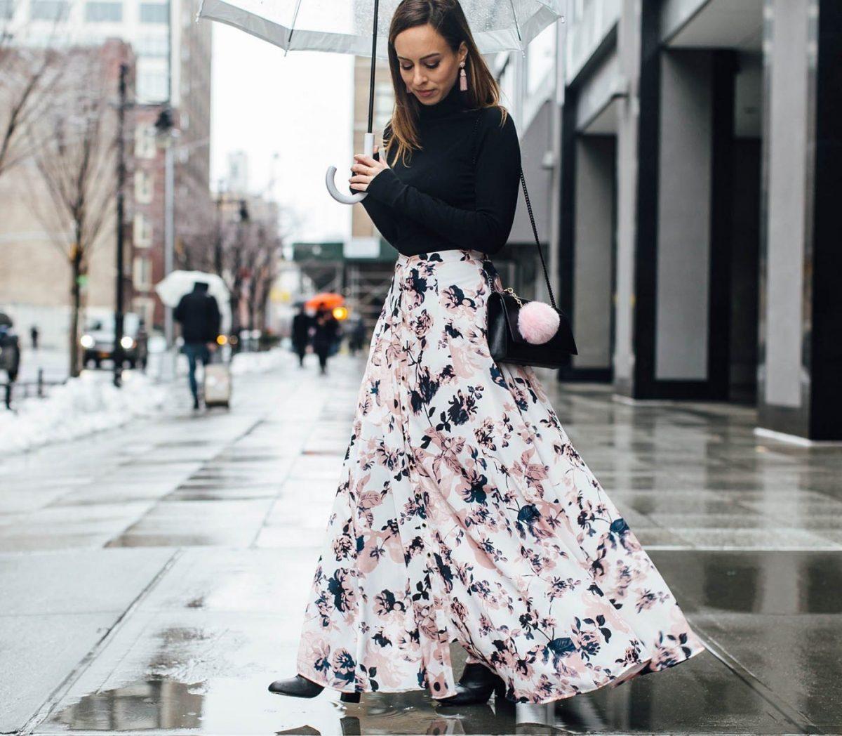 юбка макси цветочный принт осень зима 2018 2019